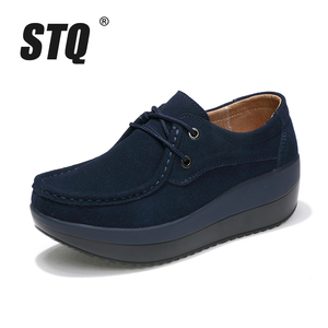 Image 2 - STQ 2020 Autumn Women Flats Shoes Thick Soled High Platform Shoes Leather Suede Ladies Casual Shoes Lace Up Flats Creepers 3235