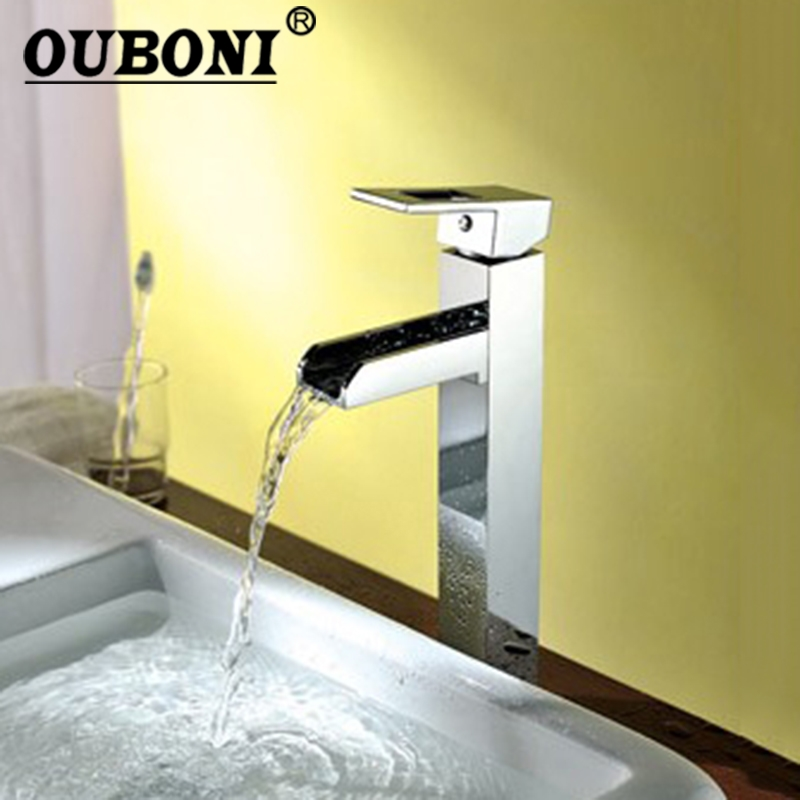 OUBONI Bathroom Chrome Brass Waterfall Faucet Basin Mixer Faucets Hot and Cold Water Chrome Deck Mounted Mixer Tap jomoo bathroom basin faucet solid brass chrome deck mounted basin mixer single handle hot and cold water tap bathroom faucet