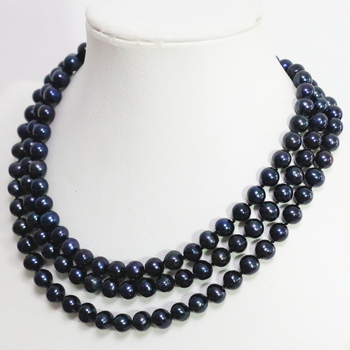 Hot natural black cultured freshwater pearl 8-9mm round beads classic romantic trendy long chain necklace jewelry 50inch B1474