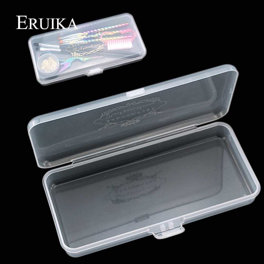 1PCS Transparent Acrylic Rectangle Storage Box For Long Nail Files/Pen/Brush Nail Art Empty Plastic Clear Holder Container