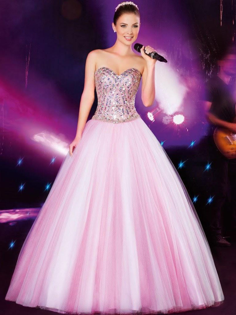 Rosado magnífico baile vestidos largos con desmontable falda compre ...