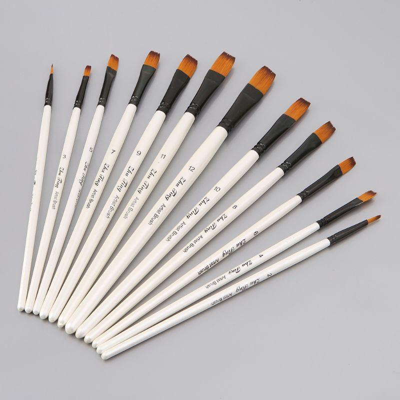 12Pcs Artist Paint Brush Set Nylon Bristles Watercolor Acrylic Oil Painting Slant Flat Round Pointed Pen Tip Art Accessory C26