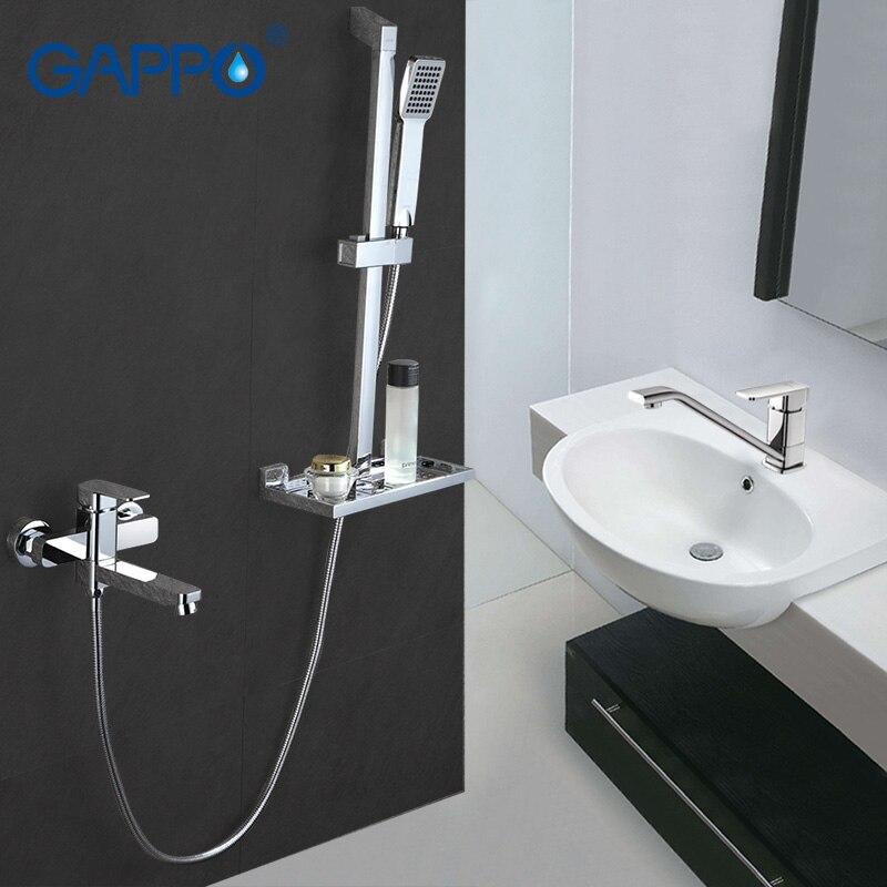Gappo salle de bains bassin robinet d'eau mélangeur trou unique de douche de bain ensemble Mélangeur robinet en laiton mural robinet Barre Coulissante 3 pc GA2898