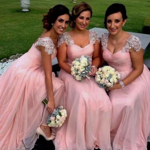 Country Dusty Rose Bridesmaid Dresses Cap Sleeves Floor Length Chiffon Backless Long Beaded Plus Size Wedding Guest Dress 2019