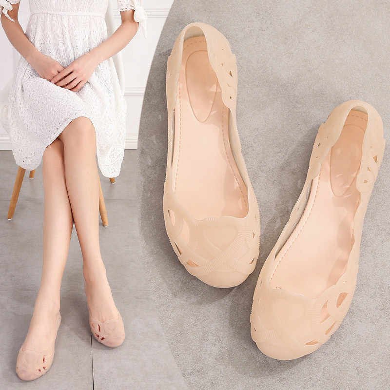 Summer Women Hollow Out Shallow Flat Jelly Shoes Slip on Ladies Casual Ballet Flats Breathable Comfort Soft Fashion Shoes