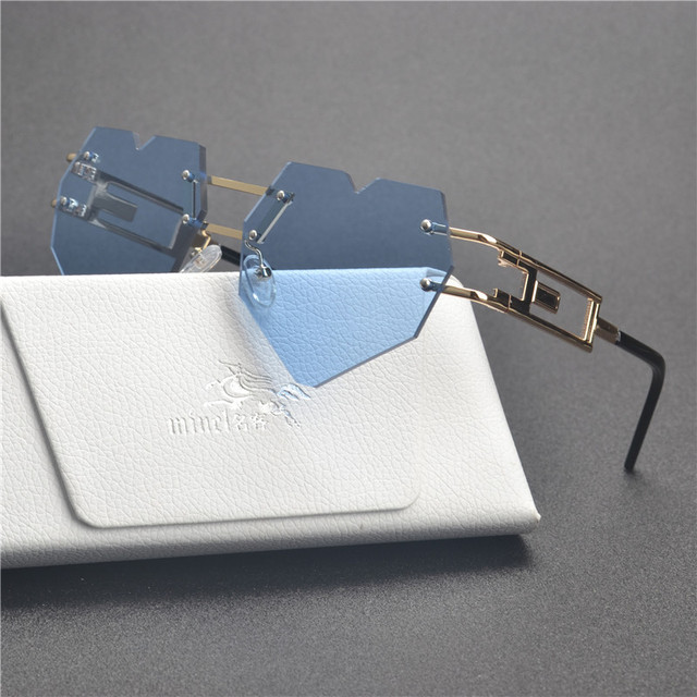 2a5a3e6f0a MINCL  new Womens Designer Cute Rimless Love Heart Shaped Sunglasses  Vintage Round Rimless Clear Oversized Sunglasses small FML