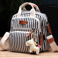 Multifunction Diaper Backpack Mother Baby Care Hobos Bags Baby Stroller Bags Striped Nappy Bag For Mommy With Horse Ornaments
