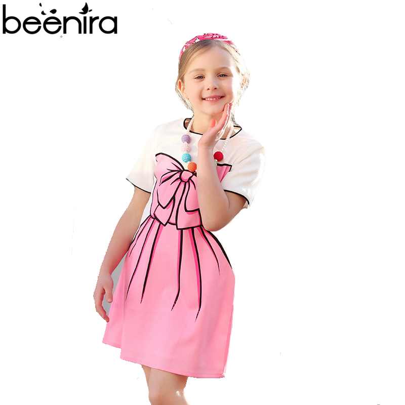 BEENIRA Summer Girls Dress Kids Cotton Costume Children Bow Prnit Short Sleeve Clothing for Party 4y-14y 2017 2016 fashion summer rare editios for girls cute clothing outfits kids short sleeve bow cotton polka dot dress with pants suit