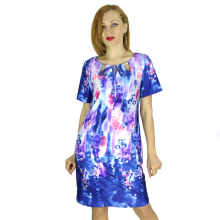 BFDADI 2016 New Summer style Women Dress Splash Floral Print O-neck Short Sleeves Ladies Dresses Vestidos 5XL 33420