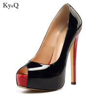 Fashion Sexy New Black Peep Toe platform Pump Women 2018 Summer Shallow High Heel Shoes Female Party Red Sandals Plus Size 34 46