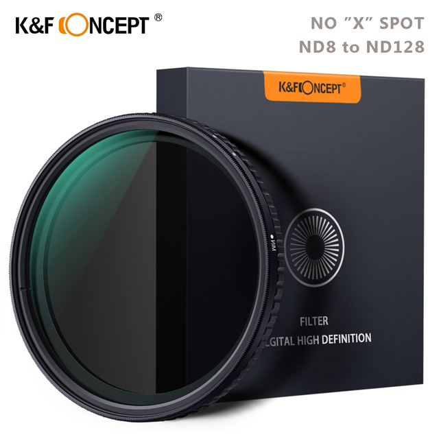 K & F Concept ND8 128 Variabele ND Filter 62mm 67mm 72mm 77mm 82mm GEEN X spot Vervagen Neutrale Densityr Filter Voor Canon Nikon Sony Lens