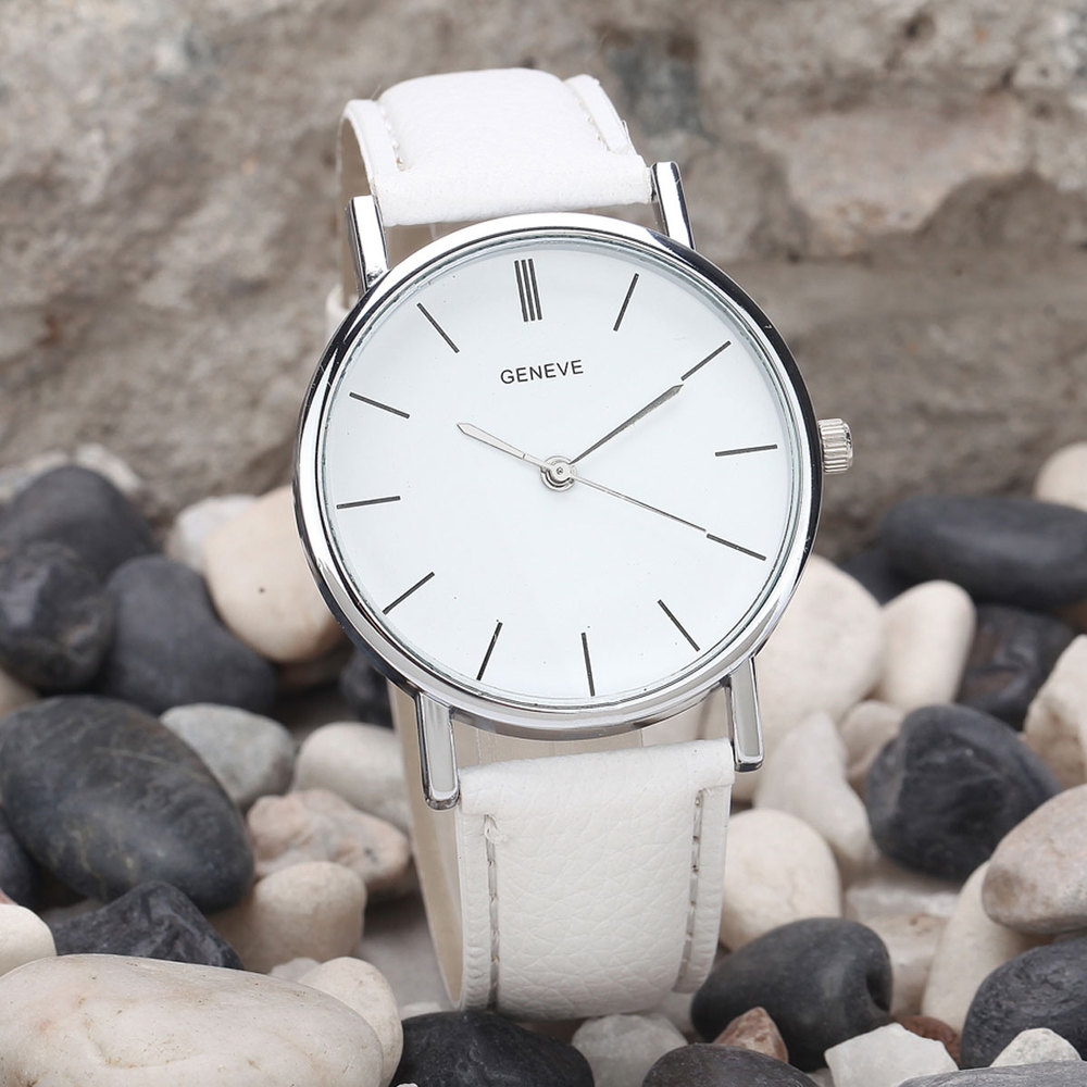 81633b681 GENEVA Silver Simple Dial Watches Casual Women Men Leather Strap Quartz  Wristwatch Unisex-in Women's Watches from Watches on Aliexpress.com |  Alibaba Group