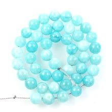 "15""Strand Natural Stone Beads Aqua Blue Marble Stone Beads Round Loose Spacer Beads For Jewelry Making Bracelet 8mm(China)"