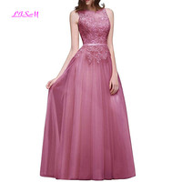 Lace Long Evening Dress O Neck Sleeveless Appliques Prom Party Gowns Sheer Back Formal Dresses Women Elegant Robe Soiree Dubai