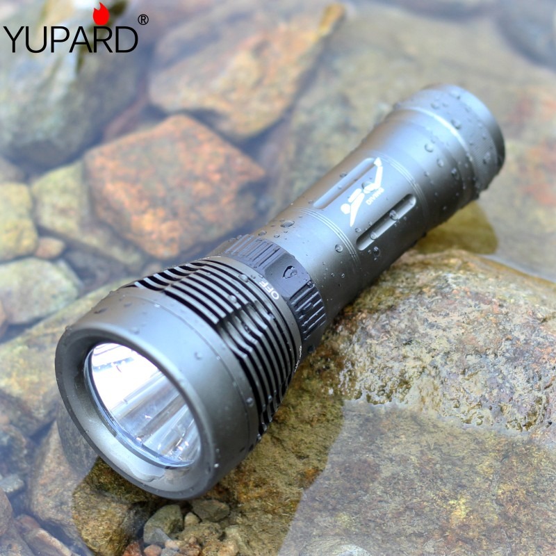 YUPARD diving diver Underwater XM-L2 T6 LED Flashlight Torch Waterproof Light Lamp+2* 4000mAh 26650 rechargeable Battery+charger yupard 3x xml l2 led t6 diving flashlight torch underwater camp waterproof flash light 2 2200mah 18650 battery charger