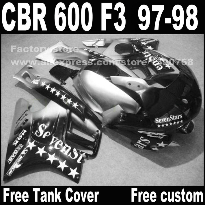 Motorcycle parts for HONDA CBR 600 F3 fairings 1997 1998 CBR600 F3 97 98 black silver seven star fairing kit  D6