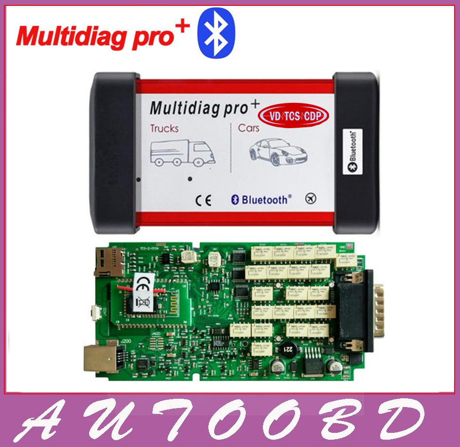 Best A+ Quality Red Multidiag Pro+VD TCS CDP With bluetooth single green PCB 2014.2 software keygen+ car/ trucks diagnostic tool new arrival new vci cdp with best chip pcb board 3 0 version vd tcs cdp pro plus bluetooth for obd2 obdii cars and trucks
