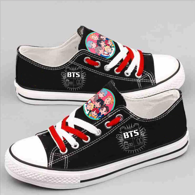 Spring BTS Bangtan Cartoon Canvas shoes for Boys& Girls Printing Short Canvas Shoes Causal Leisure Shoes