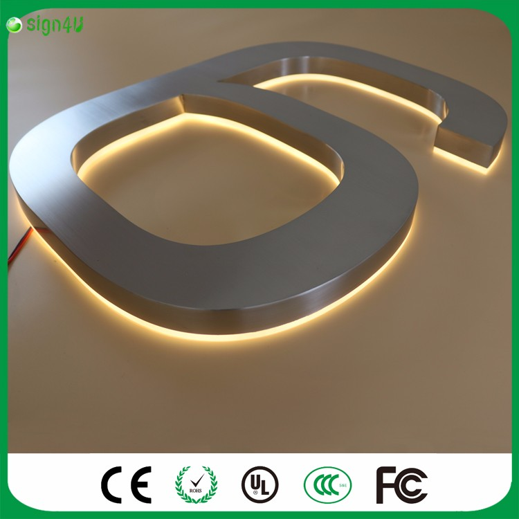 ФОТО Custom polished chrome color 304 Stainless steel warm white light LED backlit house number signs