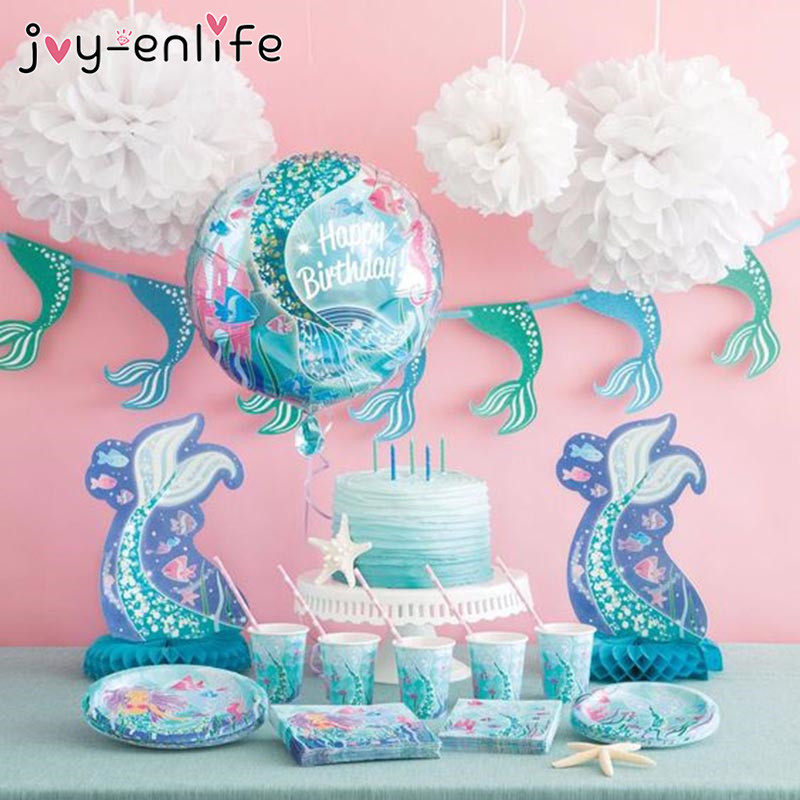 JOY-ENLIFE Happy Birthday Party Disposable Tableware Set Mermaid Party Plate Cup Banner Decor Baby Shower Girl Party Supplies