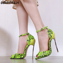 GBHHYNLH lassics Sexy Women Red Wedding Shoes Peep Toe Stiletto High Heels Shoes Woman Sandals pink blue green Big Size LJA771 cocoafoal woman green high heels shoes plus size 33 43 sexy stiletto red wedding shoes genuine leather pointed toe pumps 2018