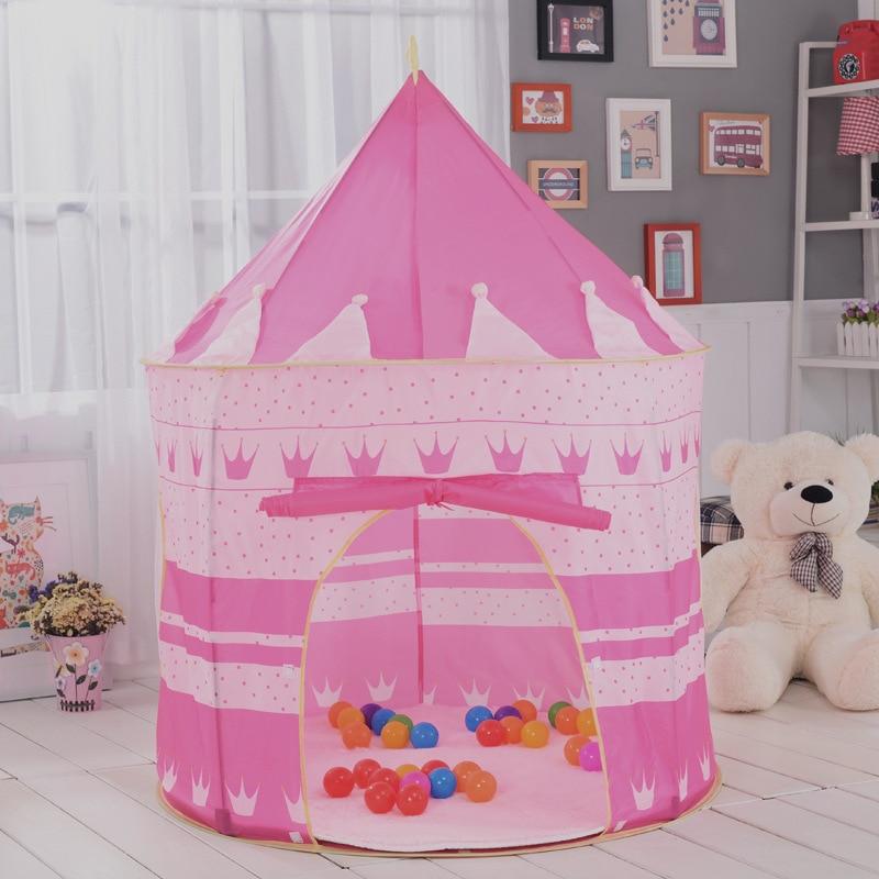 Oyuncak çadır sıcak büyük pembe ve mavi kale oyuncak çadır ev - Kamp ve Yürüyüş - Fotoğraf 5