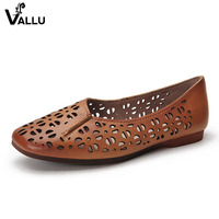 VALLU Summer Genuine Leather Shoes Women Flats Square Toes Hollow Out Soft Breathable Ladies Flat Shoes