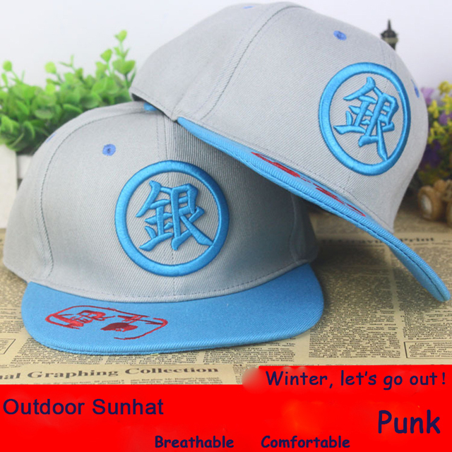 15e936035f3 Anime Silver Soul Gintama Logo cotton baseball cap Punk Adjustable Men  Women sun hat cosplay gift