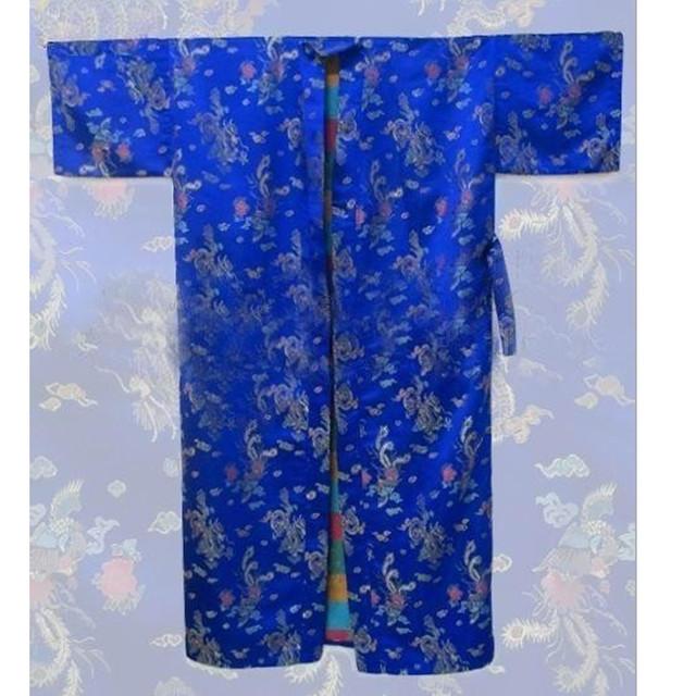 Azul con estilo hombre chino de satén vestido de noche de verano salón de la ropa impreso albornoz Kimono clásico sml XL XXL 3XL