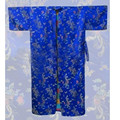 Stylish Blue Chinese Male Satin Night Gown Summer Lounge Sleepwear Printed Bathrobe Classic Kimono S M L XL XXL 3XL