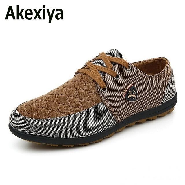 Akexiya 2017 мужская Повседневная Обувь мужская холст обувь для мужчин обувь мужская мода Квартиры Кожа модный бренд замши Zapatos де hombre