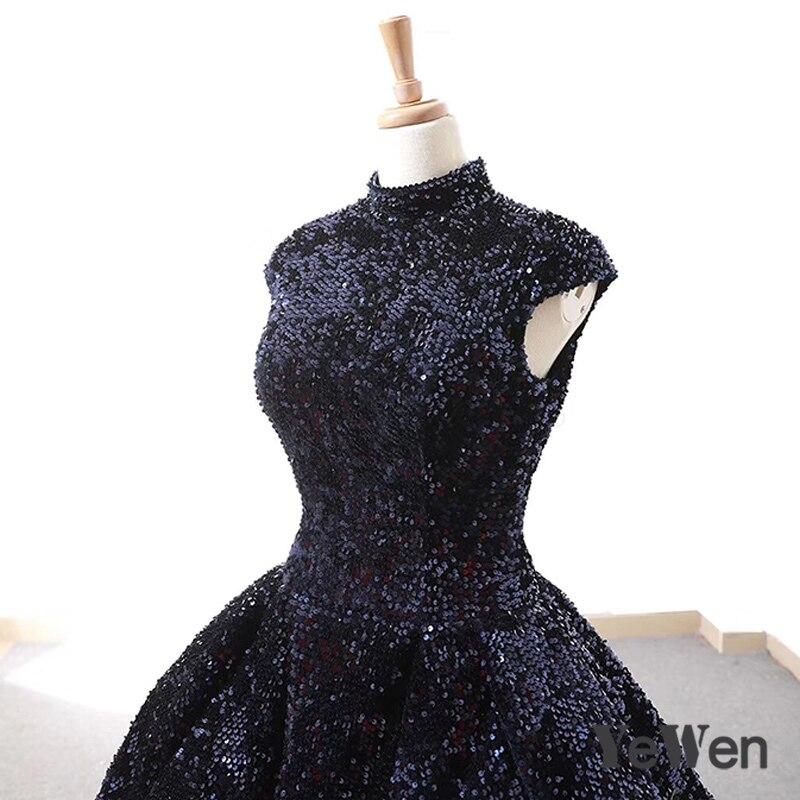 Robe De soirée nouvelle élégante bleu marine Robe De soirée pailletée 2018 longue étincelle col haut robes De mariée formelle YeWen - 4