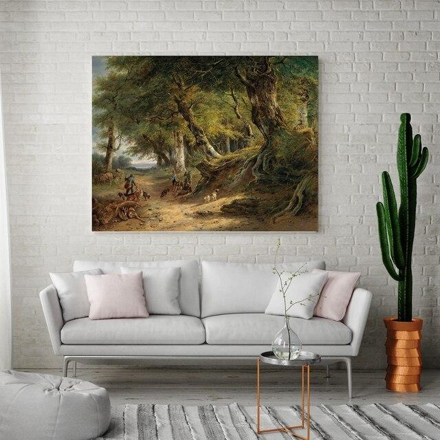 Retro European Landscape Canvas Prints Hunting Figure Painting For Dining Room Wall Decor Artwork Vintage Home Decoration Custom