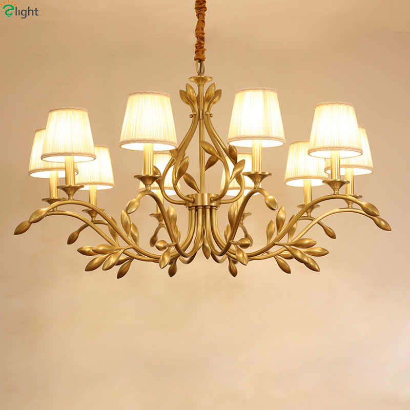 Lustre Copper Leaf Led Chandeliers Lighting Living Room Fabric Shades Led Chandeliers Lamp Dining Room Hanging Lights Fixtures
