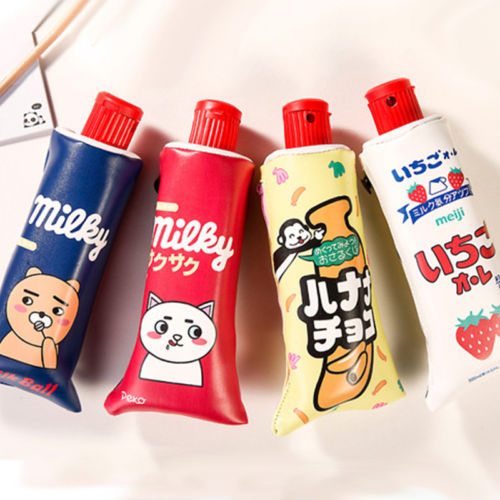 Korean Cartoon Toothpaste Shape PU Pencil Case with Sharpener Stationery Storage Organizer Pen Bag School Supplies Student Prize household mouth shape 2pcs toothpaste squeezers