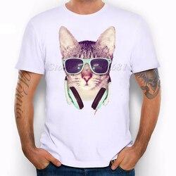 Cool glasses cat printed personalized t shirts mens t shirt 2016 new dj cat top tees.jpg 250x250