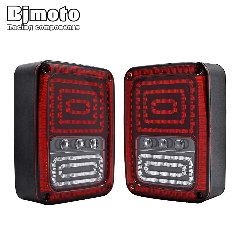 BJMOTO EU/USA Reverser Brake Turn Signal LED Rear Tail Light For Jeep wrangler Taillight With Brake Turning Reverse lights hireno tail lamp for mercedes benz w220 s280 s320 s350 s500 s60 1998 05 led taillight rear lamp parking brake turn signal light