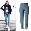 Европейский Американский стиль чистого хлопка женщин джинсы плюс размер высокое качество сбора винограда способа boyfriend манжеты ковбой джинсовые брюки D231