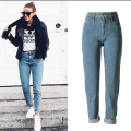 European American style pure cotton women jeans plus size high quality fashion vintage boyfriend cuffs cowboy denim pants D231