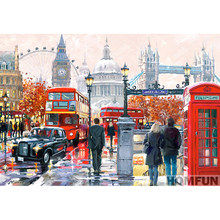 "Full Square/Round Drill 5D DIY Diamond Painting ""London street"" Embroidery Cross Stitch Home Decor Gift A01569(China)"