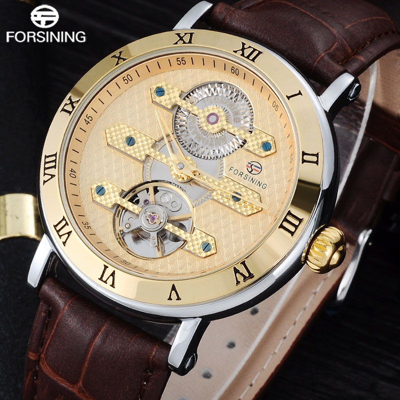 FORSINING Fashion Brand Luxury Mechanical Watch Men 30M Waterproof Tourbillon Automatic Watches Leaher Band Creative Gear Clock new fashion luxury brand forsining rose gold men watch automatic mechanical watches hollow men tourbillon mechanical watch gift