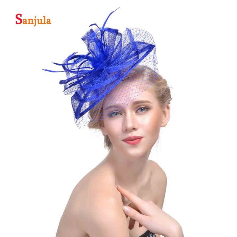 72bc34089a87a Linen Bridal Hats with Feathers Wedding Hat Face Veil Bride Hair  Accessories Women s Fascinators tocados de fiesta H01