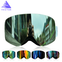 VECTOR Brand Ski Goggles Men Women Double Lens UV400 Anti Fog Snowboard Skiing Glasses Big Mask