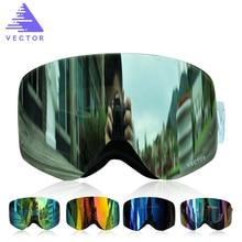 WEKTOR Gogle Narciarskie Mężczyźni Kobiety Podwójne Soczewki UV400 Marki Anti-fog Snowboard Narciarstwo Okulary Big Maska Śnieg Okulary