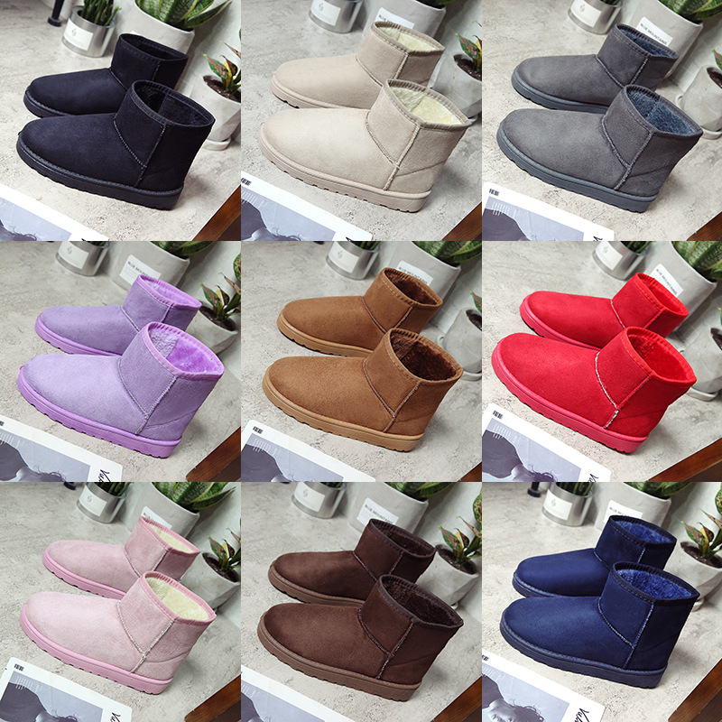 Hemmyi Women winter classic solid snow boots female ankle boots with fur warm boot woman casual shoes 9 color botas femininas