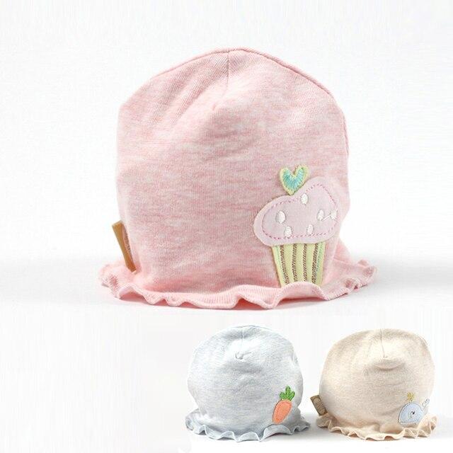 100% Organic Cotton Baby Hat Cute Newborn Baby Beanie Hat Cartoon Soft Boys  Girls Hat Ruffles Newborn Beanie Baby Girls Clothing ba853429eee