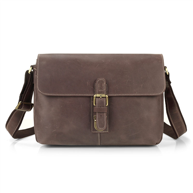 Nesitu Vintage High Quality Brown Real Skin Genuine Leather Male Bag Men Messenger Bags Men Leather Should Bag #M8011