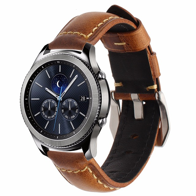 Genuine Oil Wax Leather Watchband 22mm Strap for Samsung Gear S3 Classic Frontier R760 R770 Watch Band Wrist Belt Bracelet Brown
