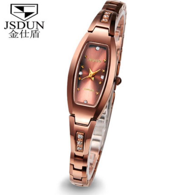 Woman CZ Diamond Dress Watch JSDUN Luxury Brand Tungsten Steel Band Sapphire Women  Wristwatch 3ATM Water Resistant 6530