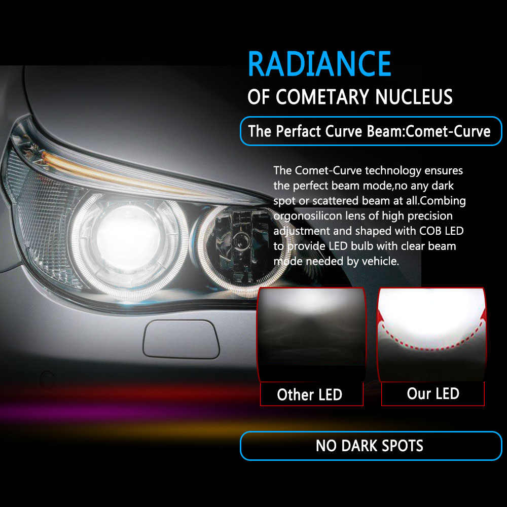 PAMPSEE C6 LED Car Headlights 72W 7600LM COB Auto Headlamp Bulbs H1 H3 H4 H7 H11 880 9004 9005 9006 9007 Car Styling Lights